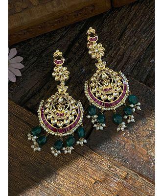 Red Green Polki Inspired Earrings