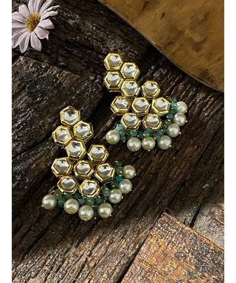 Turquoise Gold Tone Stud Earrings