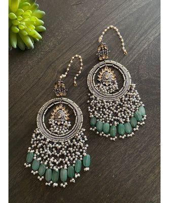 Green Silver Tone Victorian Chandbaali Earrings