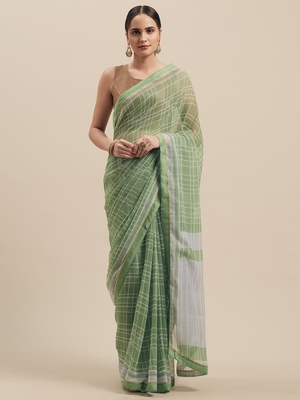 Woman's Green Colored Poly Chiffon Checked Saree