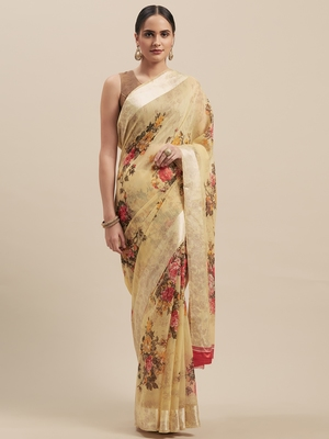 Woman's Yellow Colored Digital Printed Cotton Blend Saree
