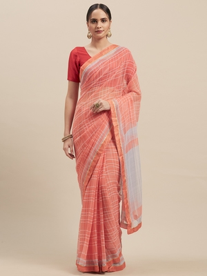 Woman's Peach Colored Poly Chiffon Checked Saree