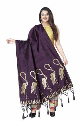 WINE WOVEN BANARASI SILK DUPATTA FOR WOMEN