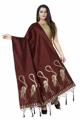 BROWN WOVEN BANARASI SILK DUPATTA FOR WOMEN