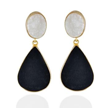 White Black Duzzy Precious Stone Earring