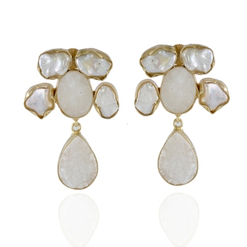 white  duzzy baroque pearl  precious stone designer fashionable  earring