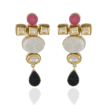 White Black Pink Duzzy Precious Stone Fusion With Kundan  Earring