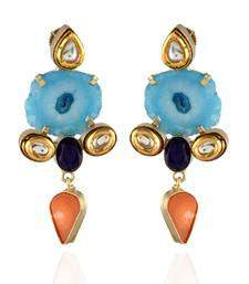 Sky Blue Orange Classy Duzzy Earring With  Fusion Of Kundan