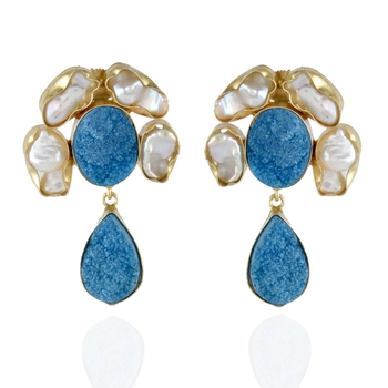 white sky blue duzzy baroque pearl stylish fashionable earring