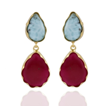 maroon sky blue precious stone designer smart look fashionable earring