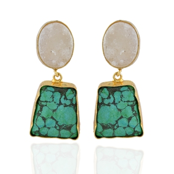 white green duzzy precious stone stylish fashionable earring