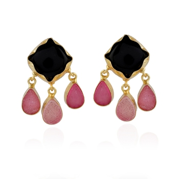 Black Pink Cute Stylish Duzzy Stone Beautiful Earring