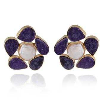 purple white duzzy  baroque pearl smart look precious stone earring