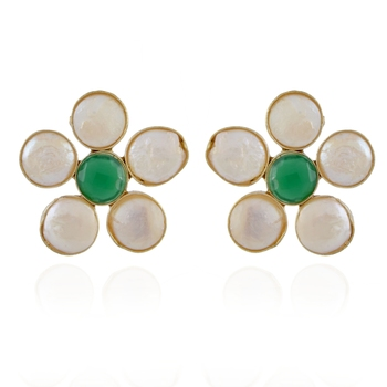green white baroque pearl stylish studd earring