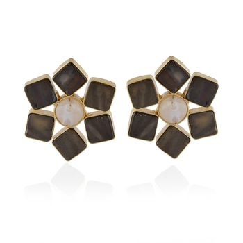 brown white baroque pearl classy stylish studd earring