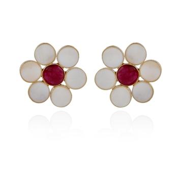 white maroon baroque pearl stylish big studd earring