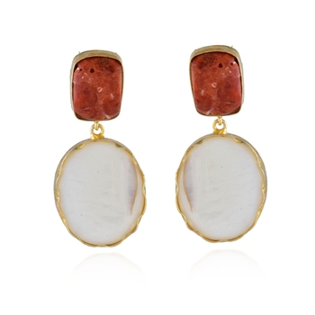 orange white mother pearl precious stone designer earring