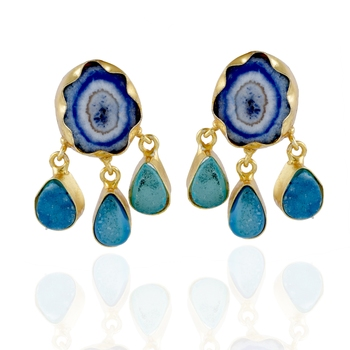 blue touquoise cute stylish duzzy precious stone earring