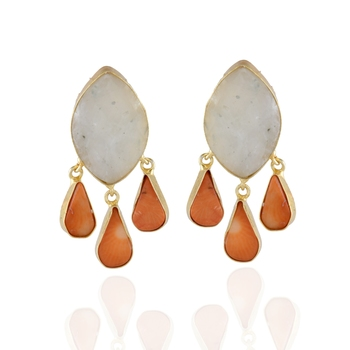 orange white precious stone classy desiner earring