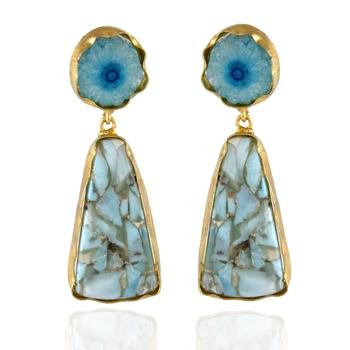 blue stylish classy precious duzzy stone beautiful earring