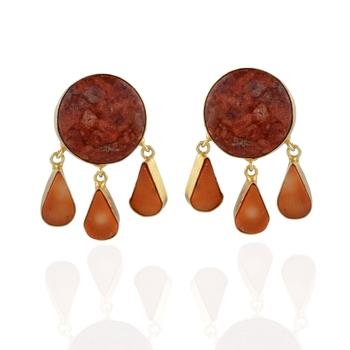 orange designer precious stone fashionable earring