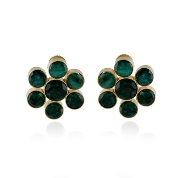 green natural stone smart look flower design earring