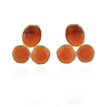 orange natural stone cute small stud earring