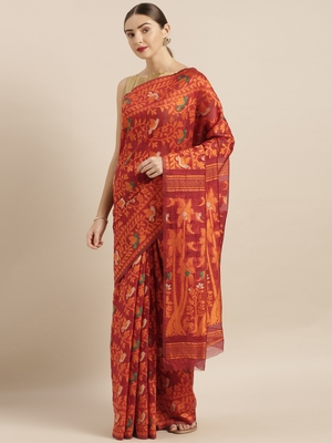 Maroon woven cotton poly saree with blouse