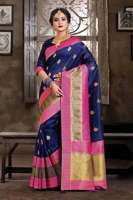Navy Blue Crystal Silk Jacquard Traditional Saree