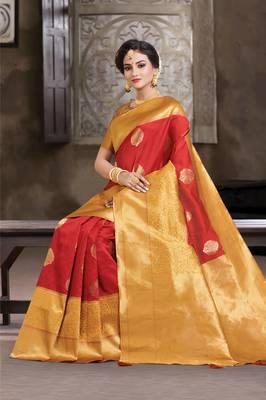 Maroon & Golden Crystal Silk Jacquard Traditional Saree