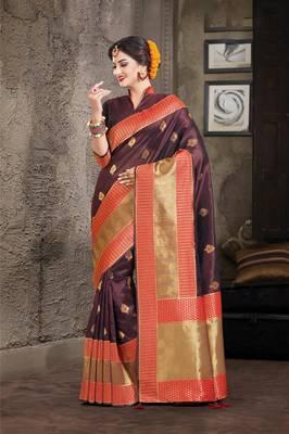 Brown Crystal Silk Jacquard Traditional Saree