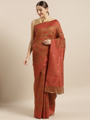 Brown woven cotton poly saree with blouse