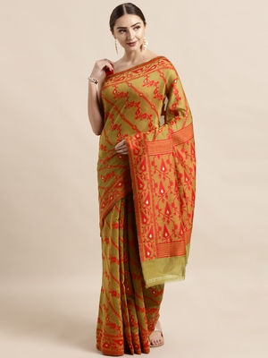 Mustard woven cotton poly saree with blouse