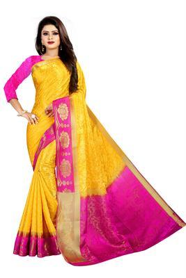 yellow woven art silk saree with blouse