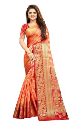 peach woven art silk saree with blouse