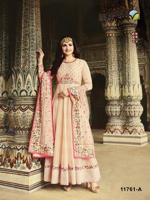 Off-white embroidered silk salwar