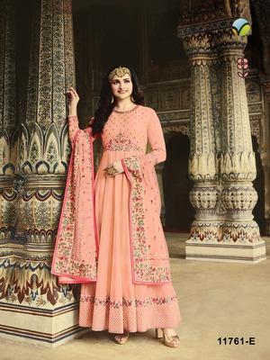 Peach embroidered silk salwar