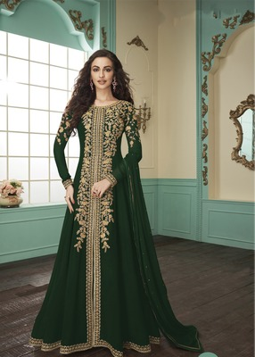 Dark-teal embroidered faux georgette salwar