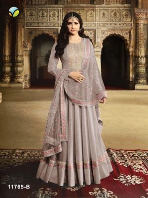 Light-purple embroidered silk salwar