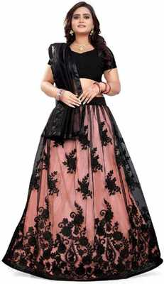 Black embroidered net semi stitched lehenga