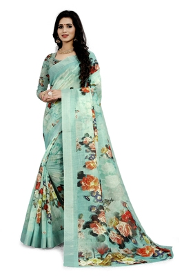 Sea Green Printed Linen Saree With Blouse