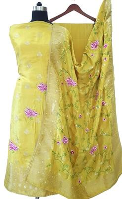 Mustard Yellow Silk Zari Woven Reshamwork Suit Fabric
