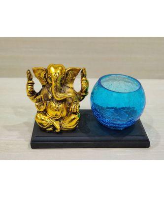 Golden Oxidized Ganesha With Designer Glass Tealight Holder On Wooden Stand - Blue