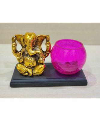 Golden Oxidized Ganesha With Designer Glass Tealight Holder On Wooden Stand - Pink