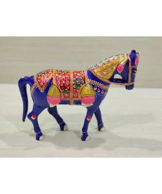 Blue Color With Minakari Work Traditional Horse Metal Showpiece