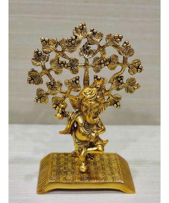 Golden Oxidized Lord Ganesha Idol Dancing Under Tree - Golden Antique Look