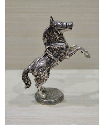 Silver Oxidized Jumping Horse Statue