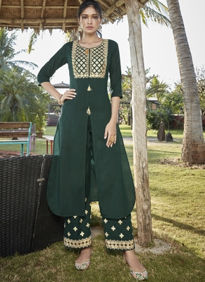 green embroidered stitched salwar