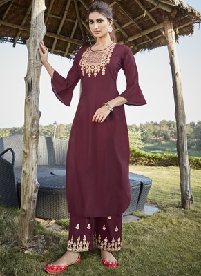 maroon embroidered stitched salwar