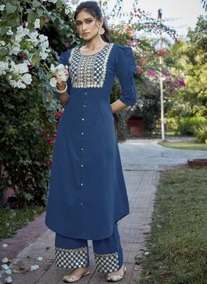 blue embroidered stitched salwar